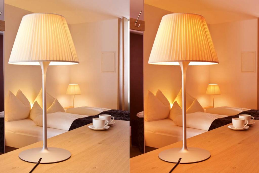 Je wärmer das Licht sein soll, desto weniger Kelvin darf die LED haben: links 2.700, rechts 2.000 Kelvin. Foto: Ledon
