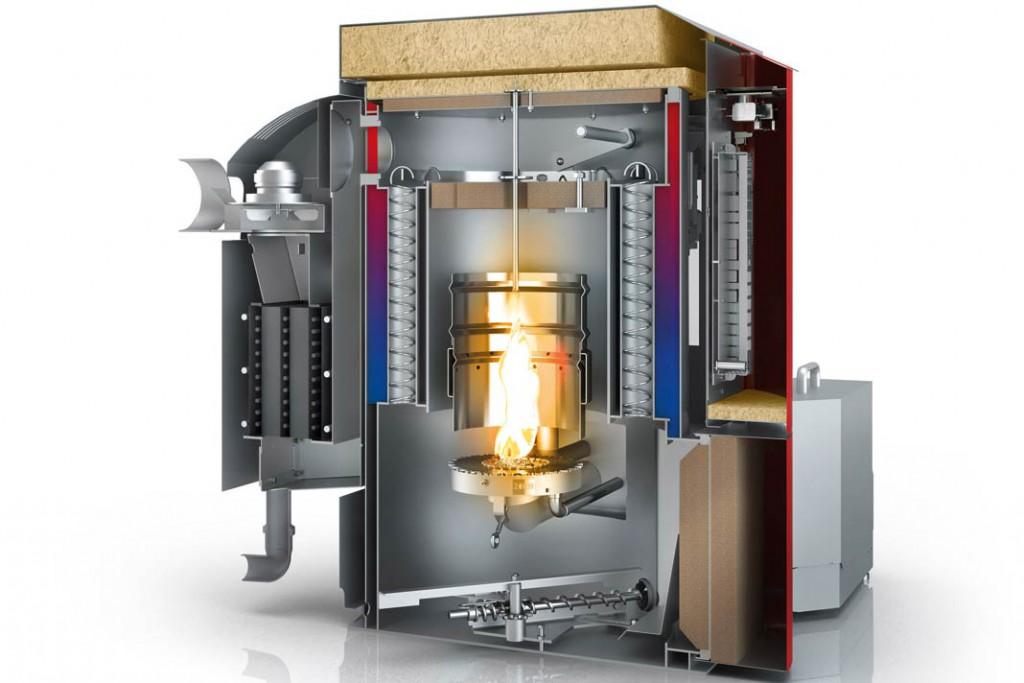 Brennwerttechnik nutzt zusätzlich die Energie der heißen, wasserdampfhaltigen Abgase. Aufgrund des höheren Rußanteils bei der Holzverbrennung wird ein selbstreinigender Wärmetauscher benötigt. Foto: Ölofen