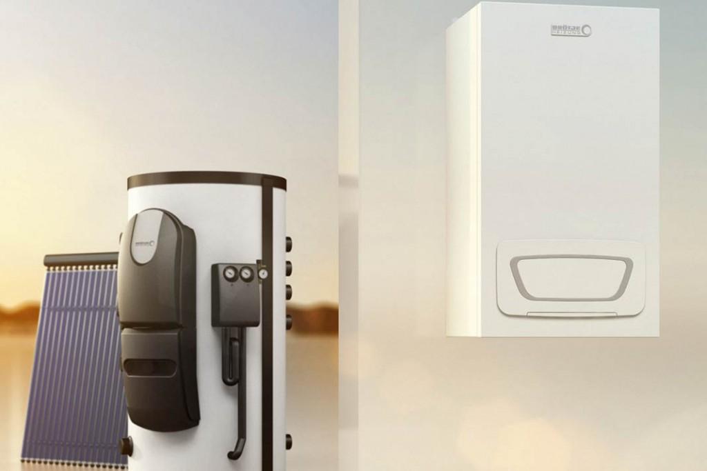 """Effizientes Hybrid-System: Das Gas-Brennwertgerät """"EcoTherm Plus WGB-M EVO"""" lässt sich sehr einfach mit Solarkollektoren und passendem Speicher kombinieren. Foto: Brötje"""