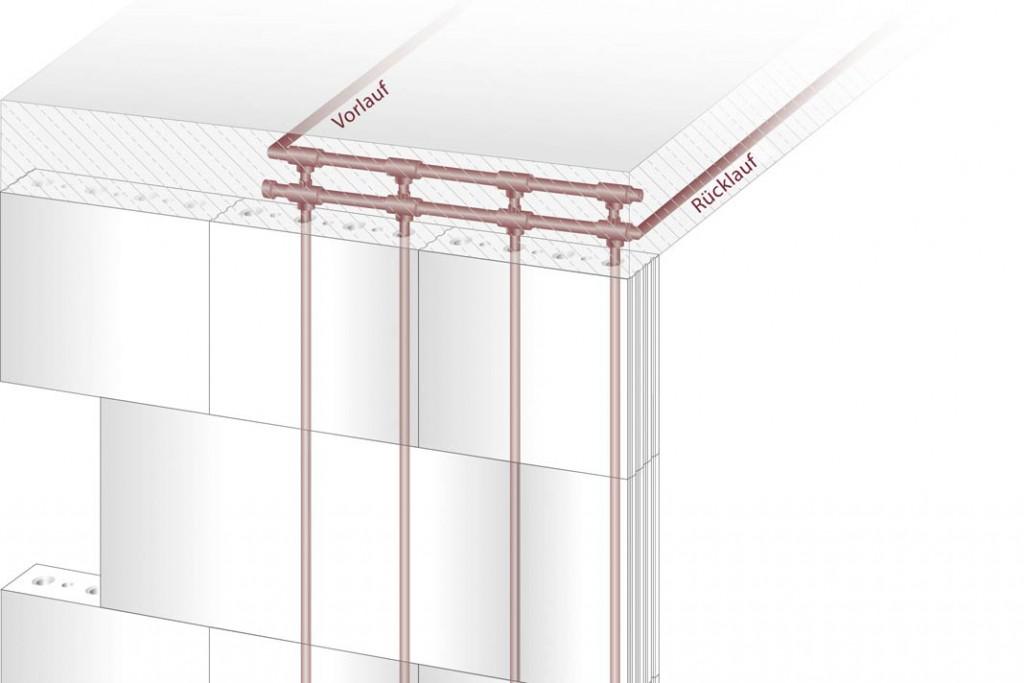 Die Module zum Kühlen oder Heizen befinden sich mittig in der massiven Systemwand. Jedes Modul kann einzeln angesteuert und reguliert werden, sodass die Energie raumabhängig genutzt werden kann. Foto: Evotura