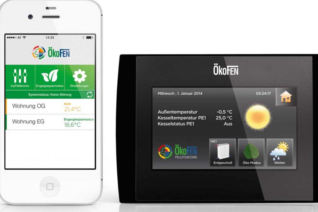 Beide Heizsysteme verfügen über eine Regelung via Touch-Modul, das zudem eine komfortable Online-Fernbetreuung via Smartphone ermöglicht. Foto: Ökofen