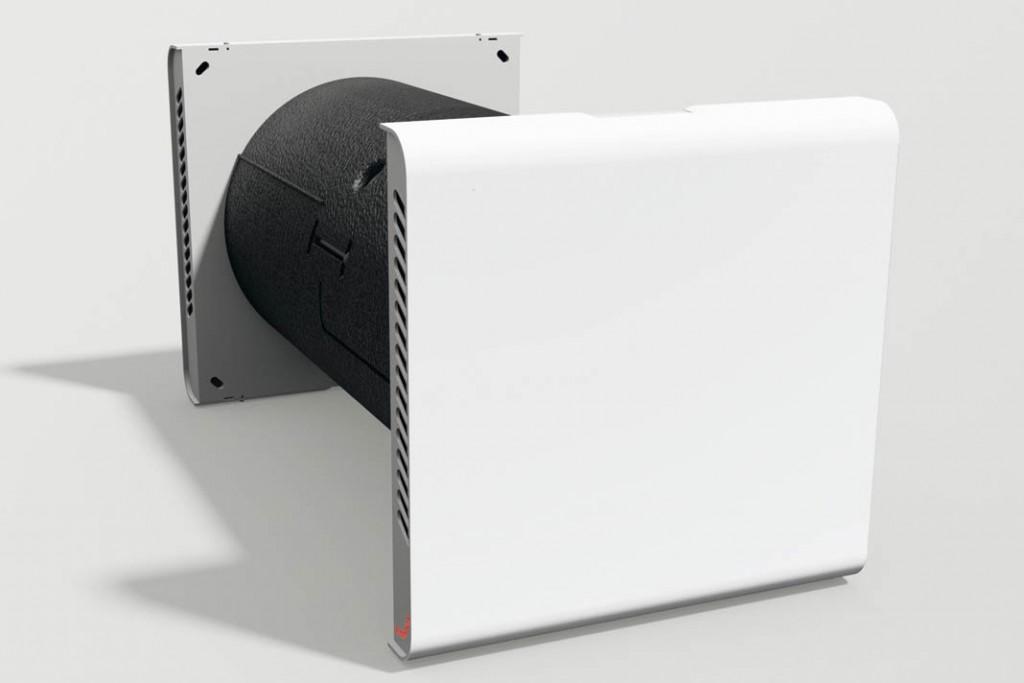 Bis auf die beiden Wandblenden verschwindet die gesamte Technik dieses dezentralen Lüftungsgerätes mit Wärme- und Feuchterückgewinnung einfach in der Wand. Foto: Zehnder