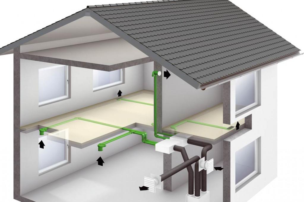 Aufbau einer kontrollierten Be- und Entlüftungsanlage mit Wärmerückgewinnung: Die verbrauchte Luft wird aus den Feuchträumen abgezogen und erwärmt die kühle Frischluft, die vorgewärmt in die Wohnräume strömt. Foto: Viessmann