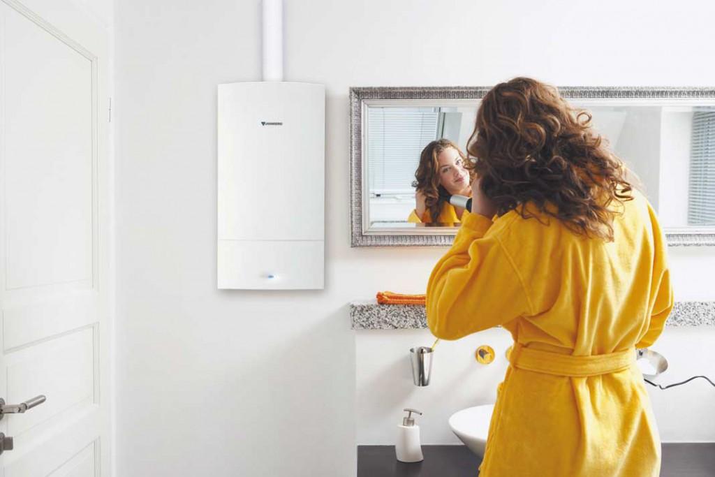 Gas-Brennwert-Therme, laut Hersteller eine der leisesten am Markt.
